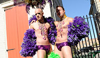 Two Revelers At New Orleans LGBT Mardi Gras