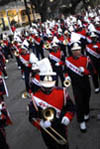 High School Band Marches in a Mardi Gras Parade
