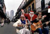 Santa with Two Musicians on a French Quarter Street